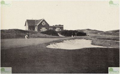 Nordwijk Golf Club, Netherlands. The ninth green and clubhouse in 1938.