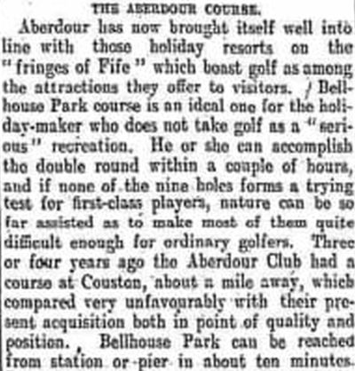 Aberdour Golf Club, Fife. The club move to Bellhouse Park in April 1905.