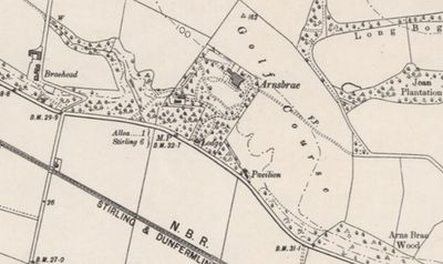 Alloa Golf Club, Arnsbrae Course, Clackmananshire. The course at Arnsbrae on the 1901 O.S. map.