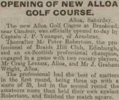 Alloa Golf Club, Arnsbrae Course, Clackmananshire. Report on the new course at Braehead in May 1927.