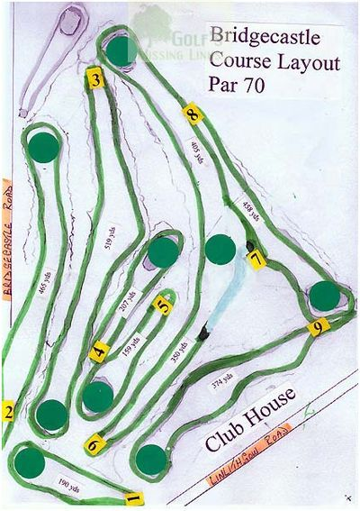 Bridgecastle Golf Club, Armadale. Course layout.
