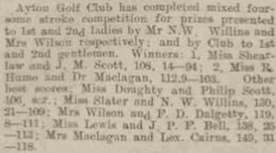 Ayton Golf Club, Borders. Competition results from June 1921.