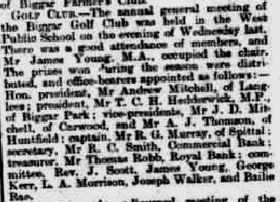 Biggar Golf Club, Langlees Course, South Lanarkshire. Report on the annual meeting held in October 1896.