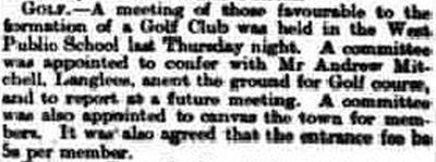 Biggar Golf Club, South Lanarkshire. Report on the proposed club in June 1895.