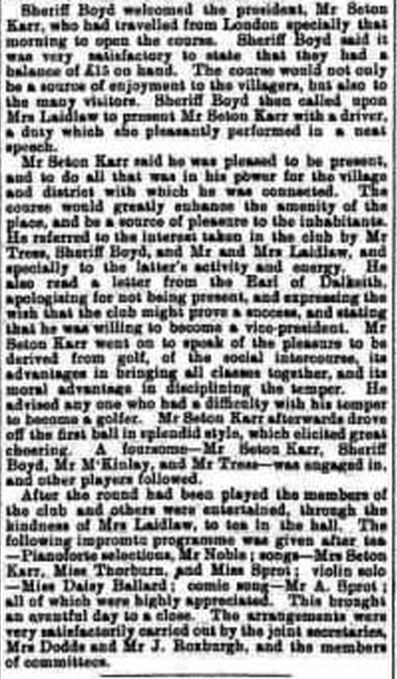 Bowden Golf Club, Melrose. Report on the opening of the course August 1901.