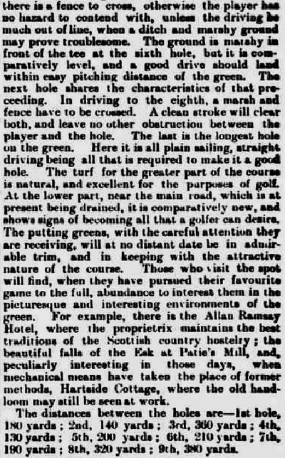 Carlops Golf Club, Borders. Report on the first Carlops Golf Club in May 1893.