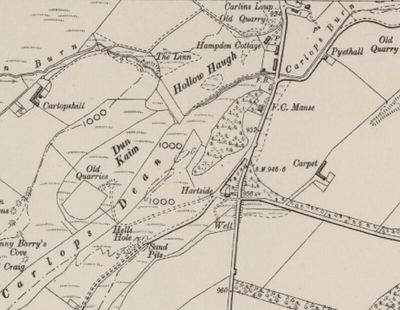 Carlops Golf Club, Borders. 1900 Ordnance Survey Map showing the area occupied by the first golf course.