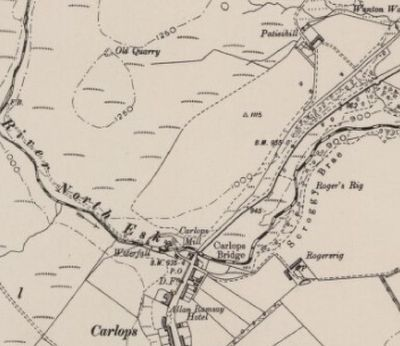 Carlops Golf Club, Borders. 1900 Ordnance Survey Map showing the area occupied by the second golf course.