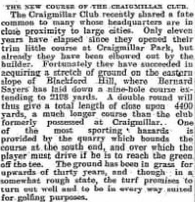 Craigmillar Golf Club, Edinburgh. The move to the  new golf course in October 1906.