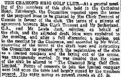 Cramond Brig Golf Club, Cammo, Edinburgh. Report on a meeting for the new club in February 1908.