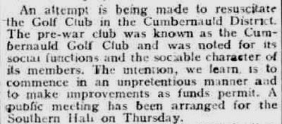 Cumbernauld Golf Club, Greenfaulds Course, Lanarkshire. Attempt to reopen the golf course in February 1923.