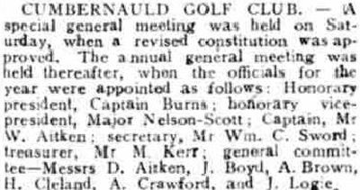 Cumbernauld Golf Club, Greenfaulds Course, Lanarkshire. Special meeting held in October 1925.