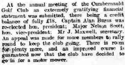 Cumbernauld Golf Club, Greenfaulds Course, Lanarkshire. Annual meeting held in March 1935.