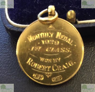 Dundonald Golf Club, Gailes by Irvine, Ayrshire. Monthly Medal from 1929 won by Robbie Craig.