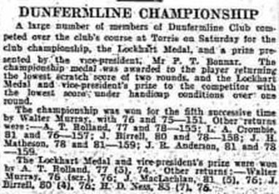 Dunfermline Golf Club, Fife. Result of the Club Championship June 1934.