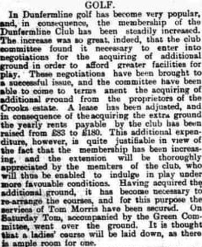Dunfermline Golf Club, Fife. Old Tom Morris visits the Ferryhill course in December 1893.