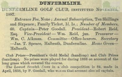 Dunfermline Golf Club, Fife. From The Golfing Annual 1888/89.