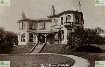 Fairfield Golf Club, Renfrewshire. The clubhouse on a postcard dated 1928.