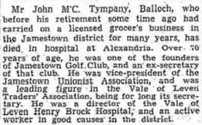 Jamestown Golf Club, Balloch. The passing of one of the founder members 1940.