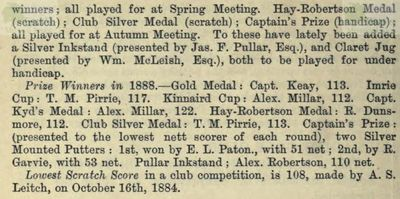 King James VI Golf Club, Perthshire. From the Golfing Annual 1888/89.