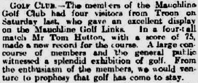 Mauchline Golf Club, Ayrshire. Exhibition match played on the course in May 1910.