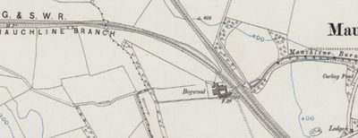 Mauchline Golf Club, Ayrshire. Ordnance Survey Map showing Bogwood location of the first course.