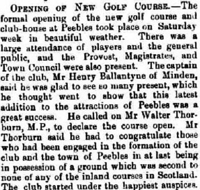 Peebles Golf Club, Borders. Report on the opening of the golf course in April 1893.