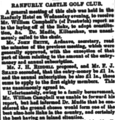 Ranfurly castle Golf Club, Renfrewshire. Report on a general meeting held in August 1889.