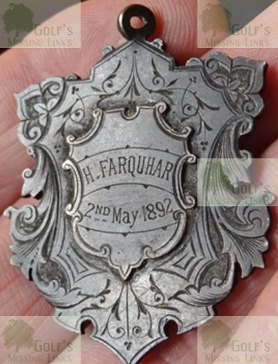 Rosslynlee Golf Club. The medal won by Rev Henry Farquhar in 1892..