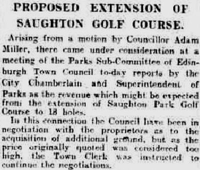 Saughton Golf Club, Edinburgh. Proposed extension of the golf course in May 1924.