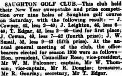 Saughton Golf Club, Edinburgh. New Year competition and annual meetin in January 1910.