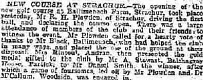 Strachur Golf Club, Argyll & Bute. Report on the new course at Strachur in November 1906.
