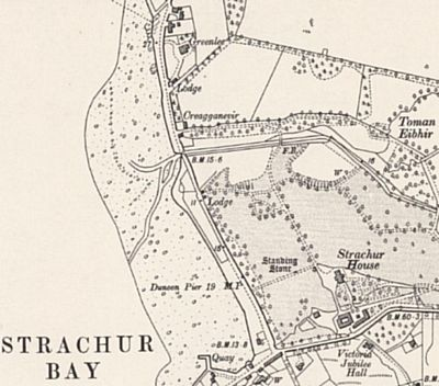 Strachur Golf Club, Argyll & Bute. Map showing Creagganevir location of the first course.
