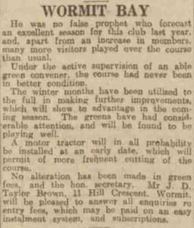 Wormit Bay Golf Club, Fife. Article from the Dundee Evening Telegraph March 1931.
