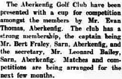 Aberkenfig Golf Club, Tyny-coed Course. Cup presented for competition in October 1936.