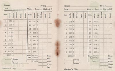 Barry Golf Club, The Leys, Gileston. Scorecard from the 1930s.