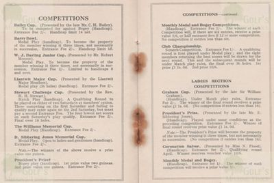 Barry Golf Club, The Leys, Gileston. Club Competitions in the 1930s.