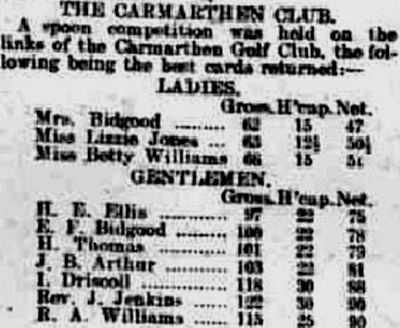 Carmarthen Golf Club. Competition results from February 1920.