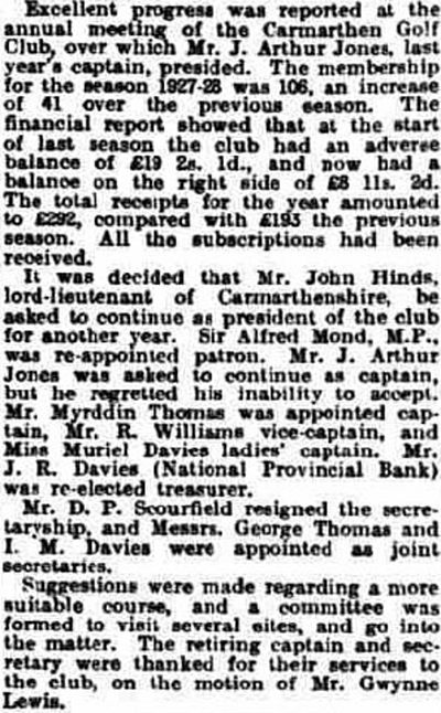 Carmarthen Golf Club. Report on the annual meeting in March 1928.