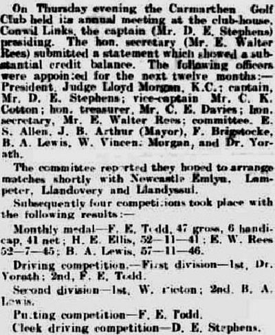 Carmarthen Golf Club. Report on the annual meeting in July 1912.