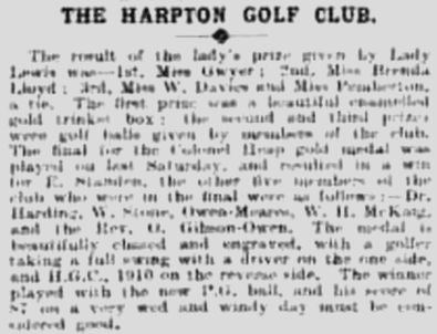 Harpton Golf Club, New Radnor, Wales. Result of a ladies competition in May 1911.