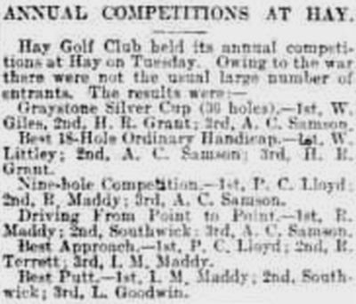 Hay Golf Club, Powys. Competition results from May 1915.
