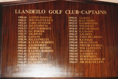 Llandeilo Golf Club, Carmarthenshire. Past Captains board.