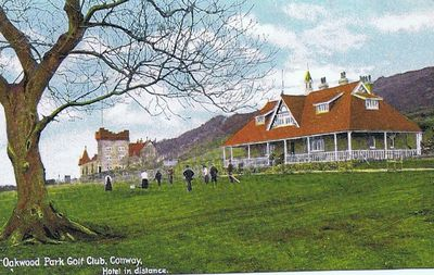 Oakwood Park Hotel Golf Club, Conwy. Pavilion with hotel in background.