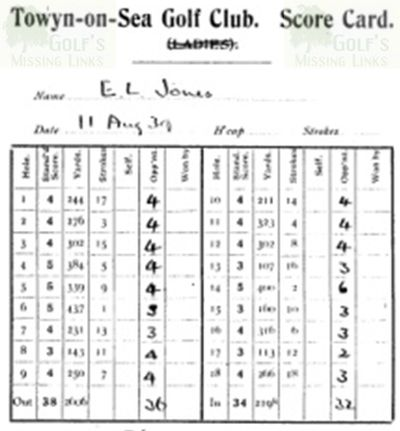 Towyn-on-Sea Golf Club, Gwynedd. Scorecard of Evan Jones in August 1939.