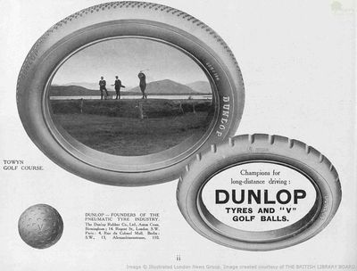 Towyn-on-Sea Golf Club, Merioneth. Dunlop advert for Towyn Golf Club in 1914.
