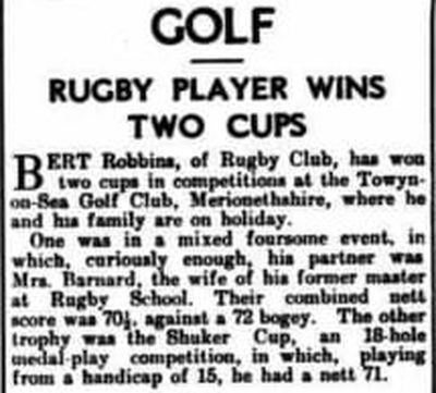 Towyn-on-Sea Golf Club, Merioneth. Results of two competitions played in August 1939.