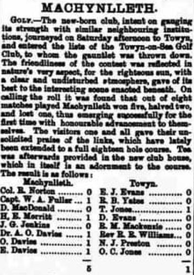 Towyn-on-Sea Golf Club, Merioneth. Results of a match played at Machynlleth in November 1906.