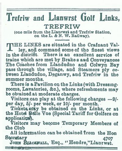 Trefriw and Llanwrst Golf Club, Conwy. 1900s advert for the club.