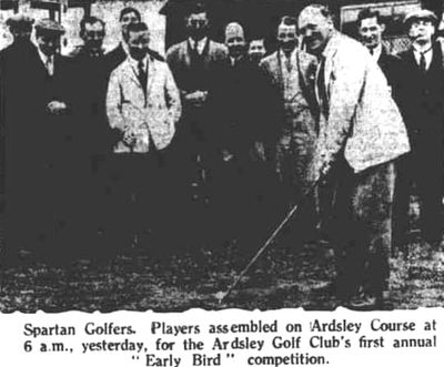 "Ardsley Golf Club, Barnsley. Driving off in the ""Early Bird"" in June 1930."